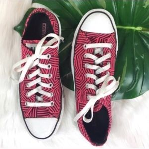 Converse All Star Low Tops in Pink & Black Stripe